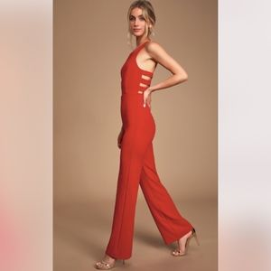 NWT Lulu's Red Jumpsuit Night is Young